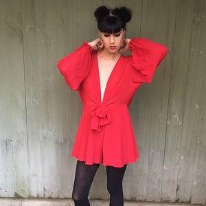 Nasty Gal Red Long-Sleeve Romper